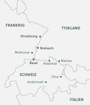 Kort - Krydstogt på Rhinen - Strasbourg - Basel - Strasbourg - Sommer 2021