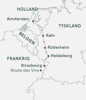Kort - Krydstogt på Rhinen - Amsterdam - Strasbourg - Sommer 2020