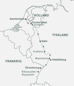 Kort over krydstogt på Rhinen Strasbourg - Amsterdam