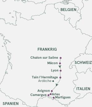 Kort over Frankrig - Rhône & Saône