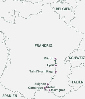 Kort - Rhone og Saone - Sommer 2022