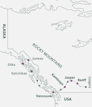 Kort - Rocky Mountains og krydstogt i Alaska - 2022