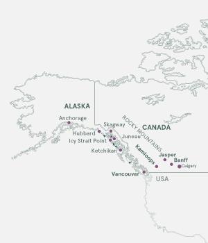 Kort Rocky Mountains og krydstogt til Alaska