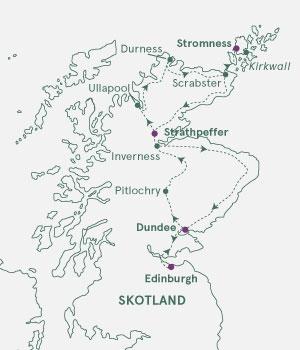 Kort over Skotland og Orkney
