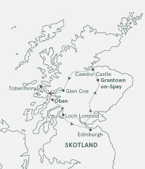 Kort - Whiskyvandring i Skotland - Sommer 2019