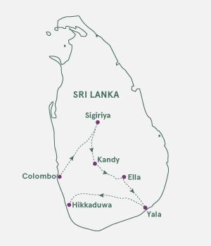 Kort over Sri Lanka