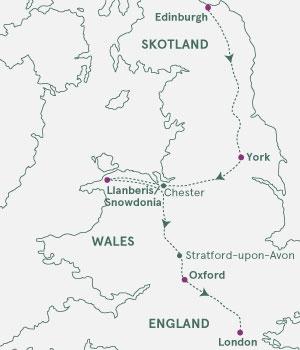 Kort over Storbritannien - Skotland, England og Wales