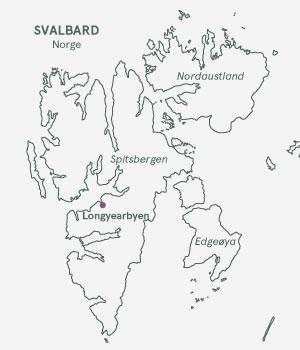 Kort over Svalbard - Norge