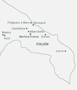 Kort - Syditalien og Trulliland - Sommer 2020