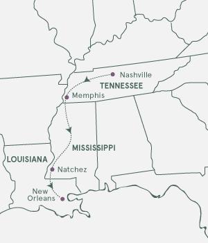 Kort - Rundrejse i USA´s sydstater - Sommer 2020