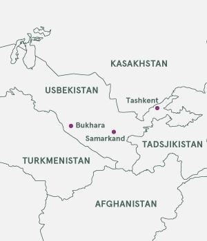 Kort over Usbekistan