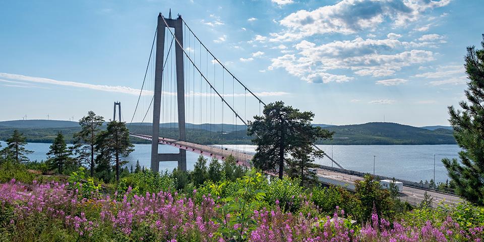 Den imponerende Höga Kusten-hængebro.