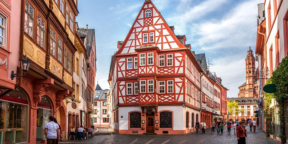 Den historiske bydel i Mainz.
