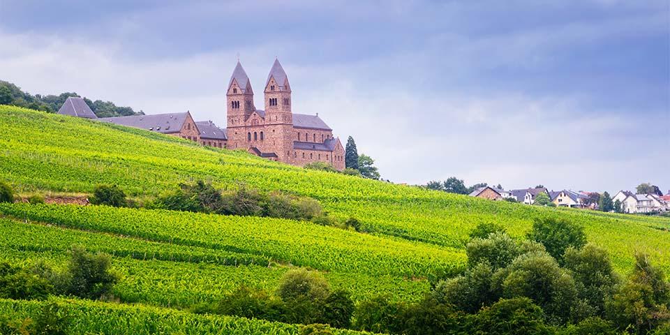 Klosteret Hildegard ligger smukt midt i alle vinmarkerne.