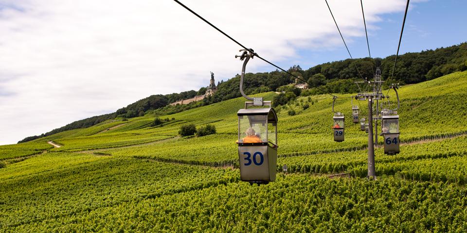 Svævebane, vinmarker og Niederwalddenkmal i baggrunden.