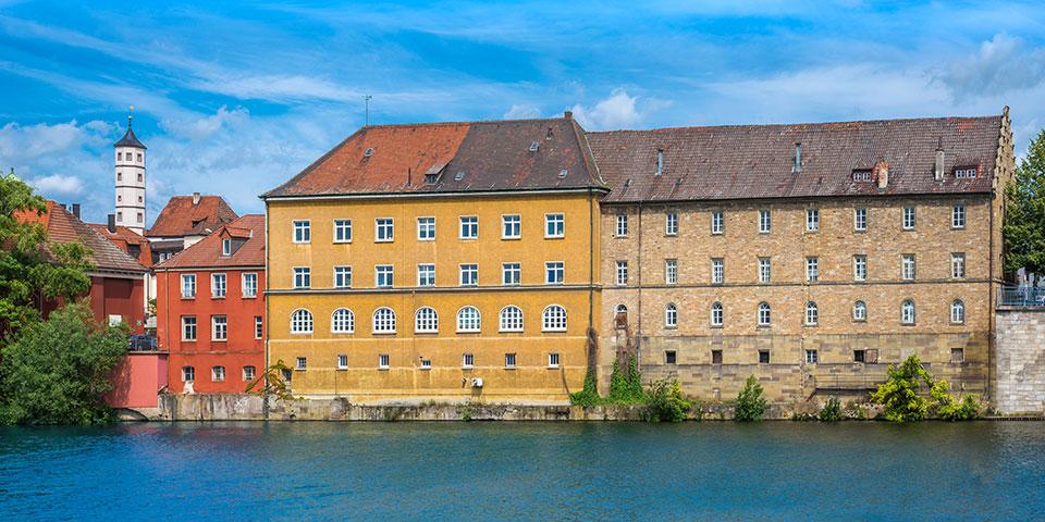 Farverige huse i Schweinfurt.