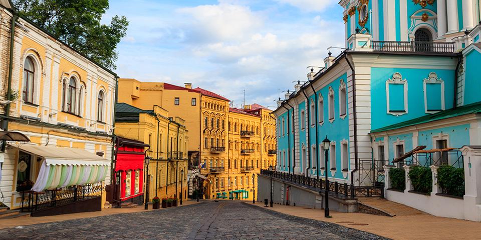 Det hyggelige Andrijevski Uzviz-kvarter.