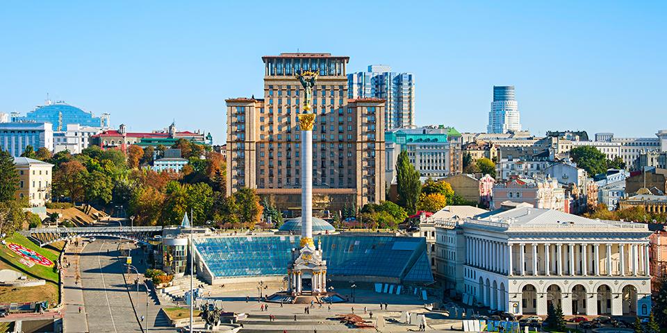 Uafhængighedspladsen med Hotel Ukraine i baggrunden.