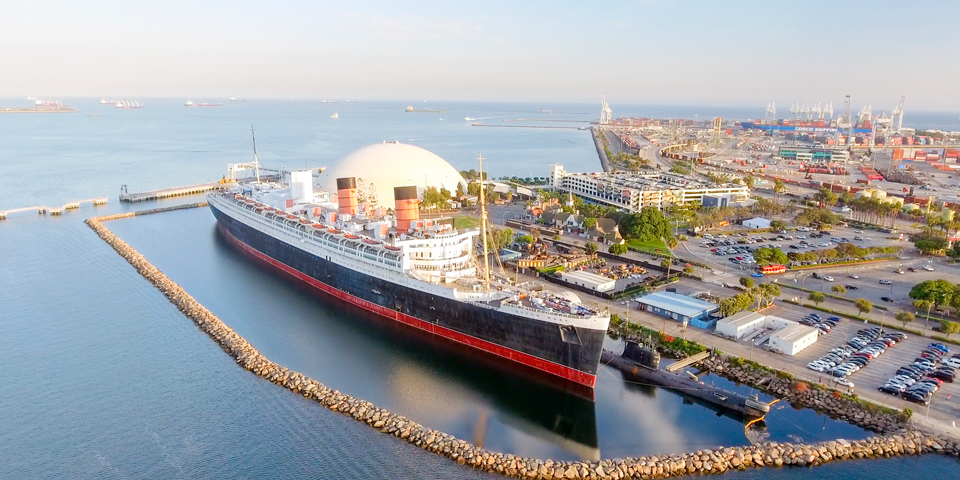 Skibet Queen Mary i San Diego.