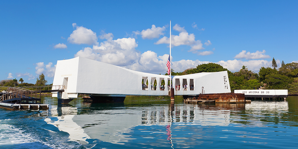 USS Arizona Memorial i Pearl Harbor.