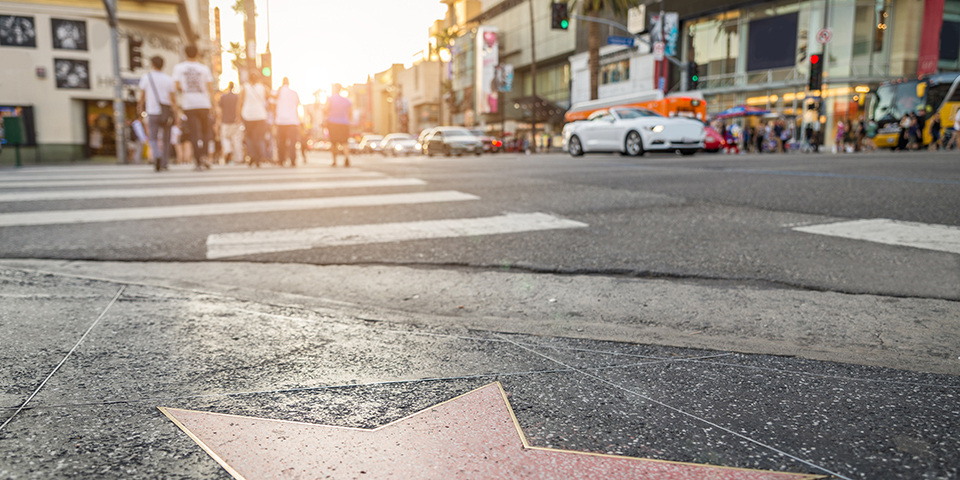 Walk of Fame på den stjernebesatte Hollywood Boulevard.
