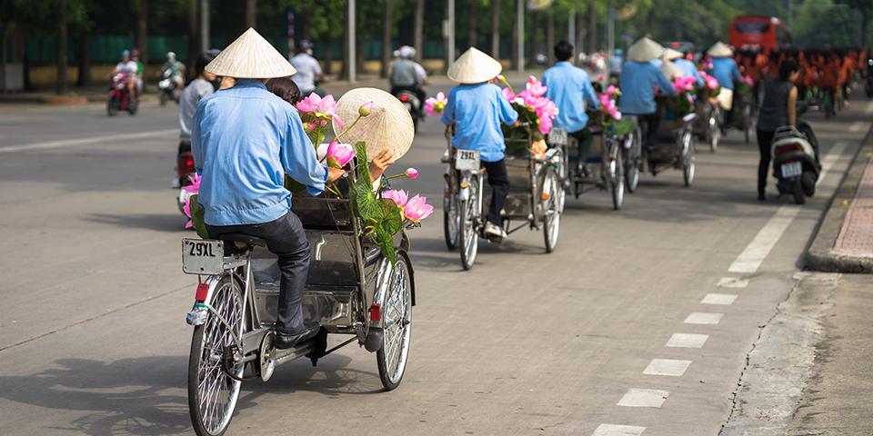 På cyclotur i Hanoi.