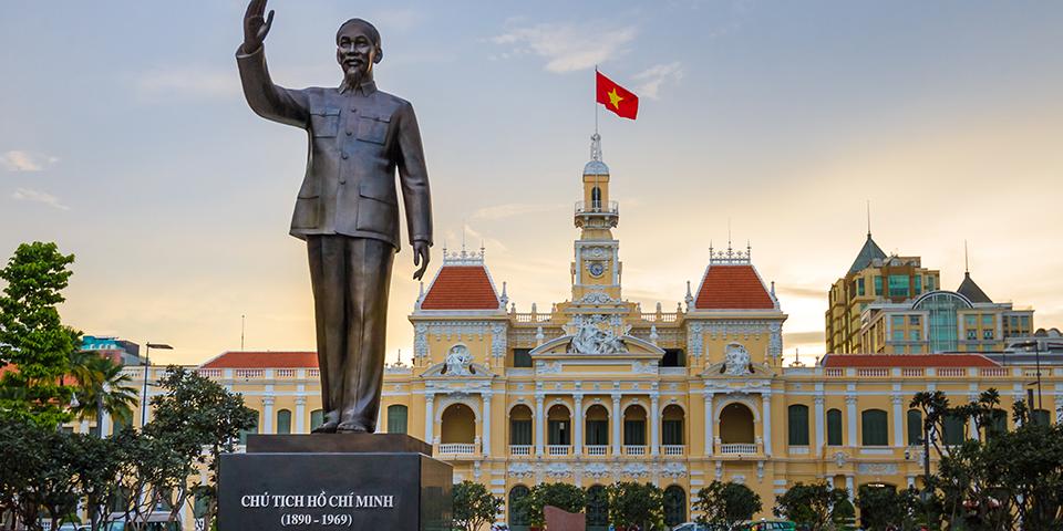 Ho Chi Minh statue foran rådhuset i Ho Chi Minh.